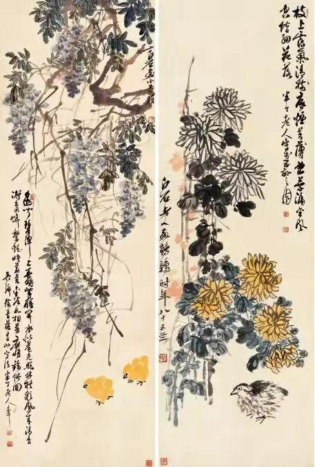 左图:陈半丁齐白石《紫藤雏鸡图》118cm×40cm纸本设色1944年荣宝斋藏